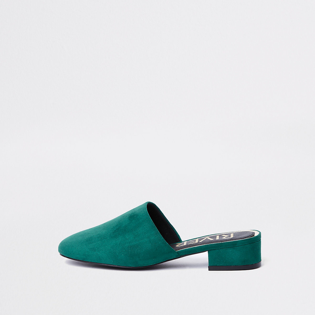 Green faux suede backless loafer
