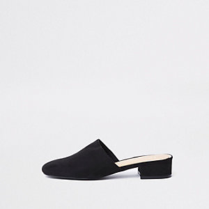 Black faux suede backless loafer