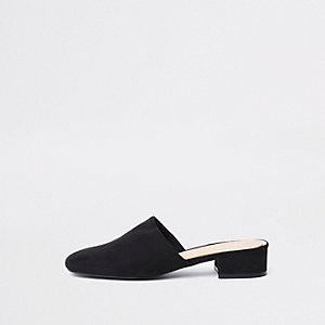 Zwarte loafer zonder hiel van imitatiesuède