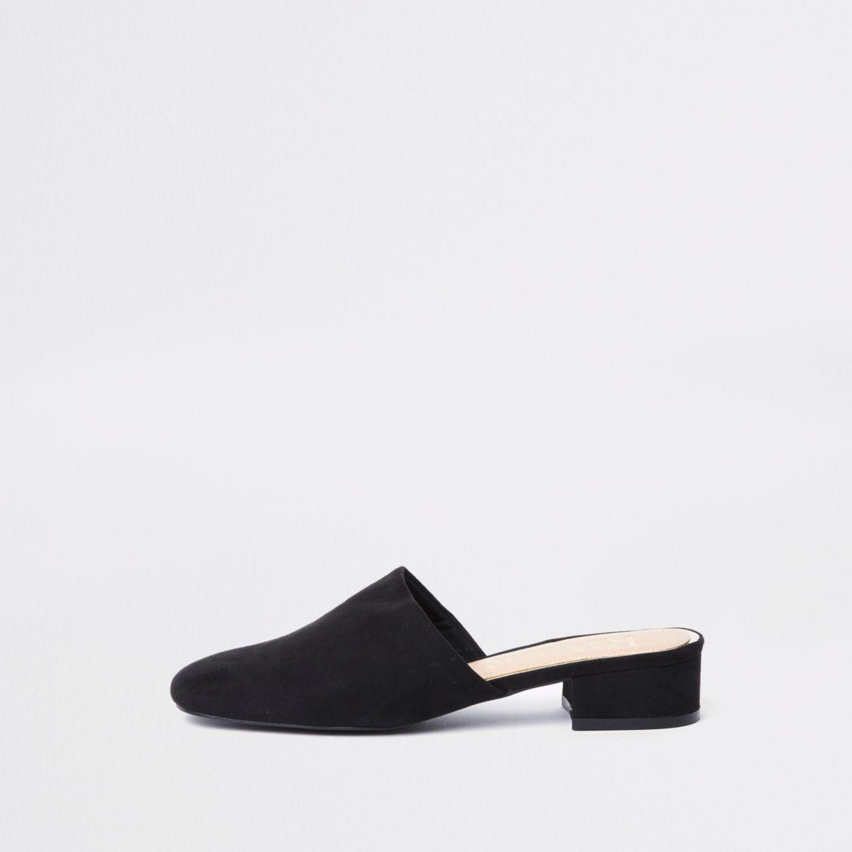 Black faux suede backless loafer