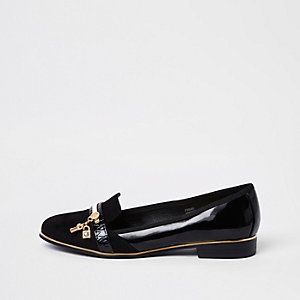Black lock key patent loafers