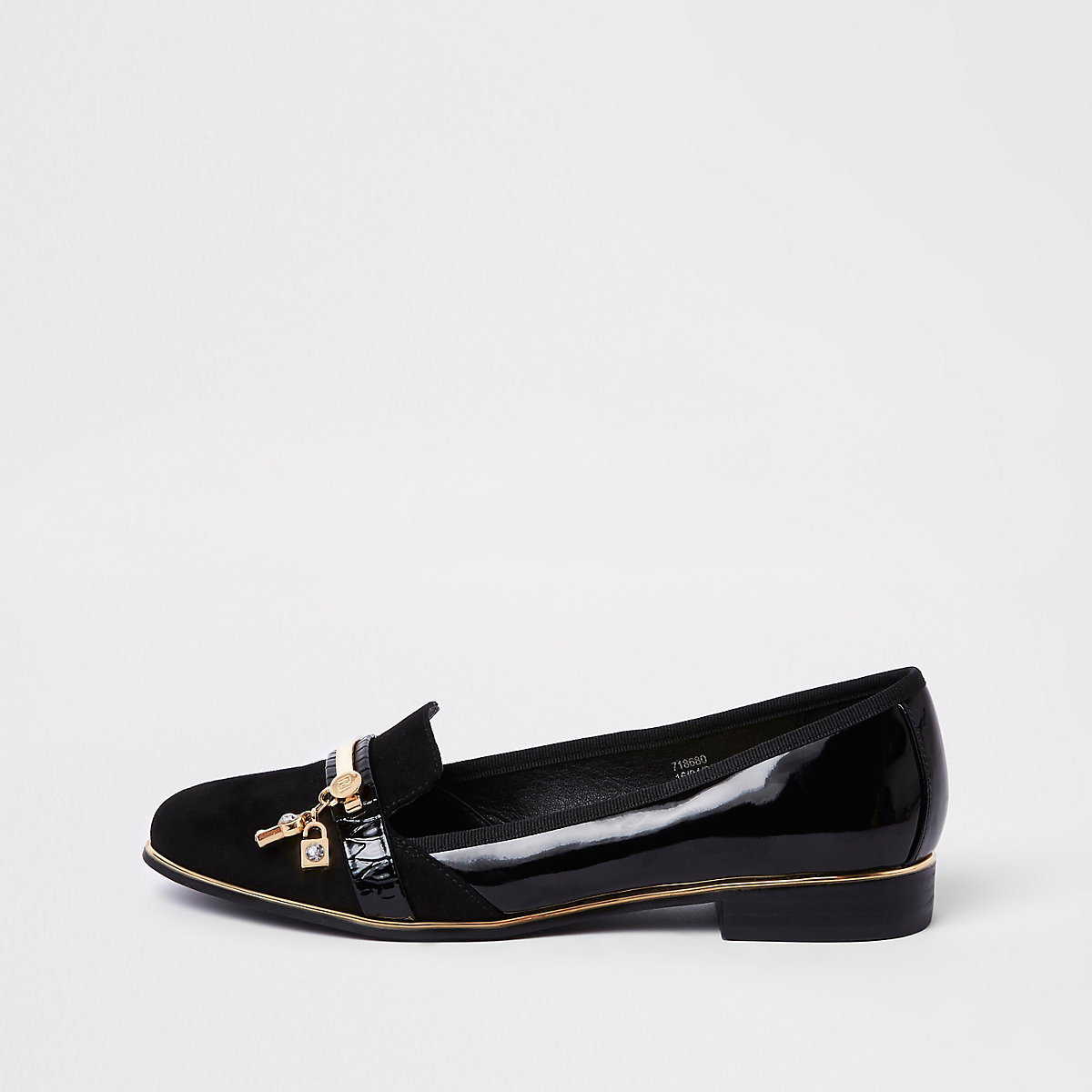 Black lock and key patent loafers