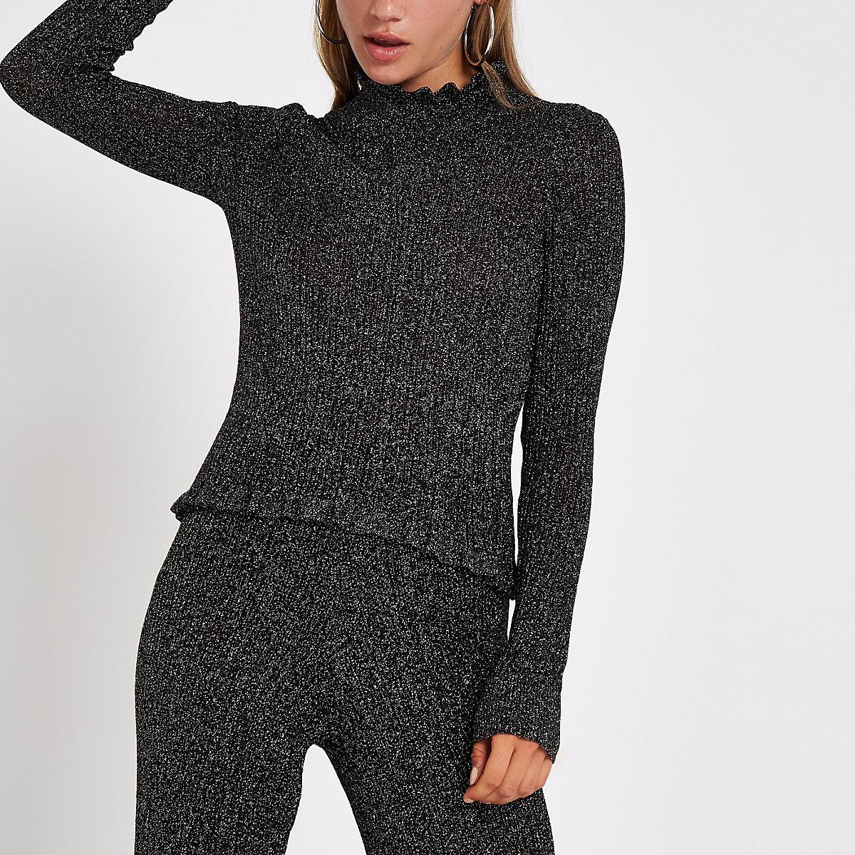 Black knit metallic high neck top