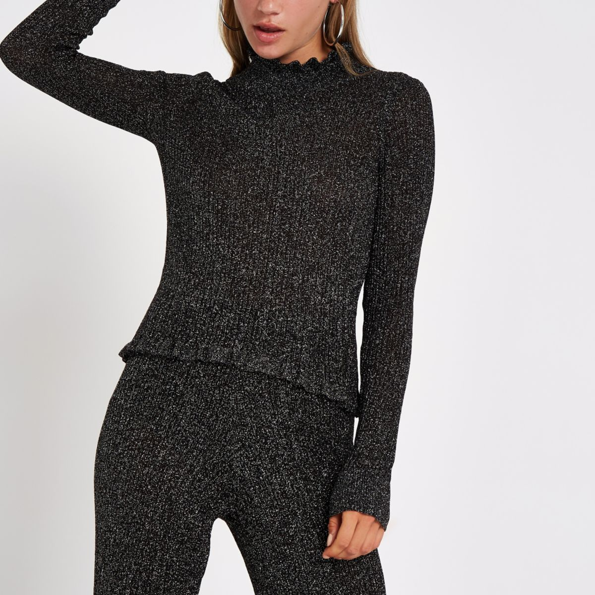 Black knit metallic high neck top