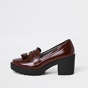 Dark red chunky tassel heeled loafers