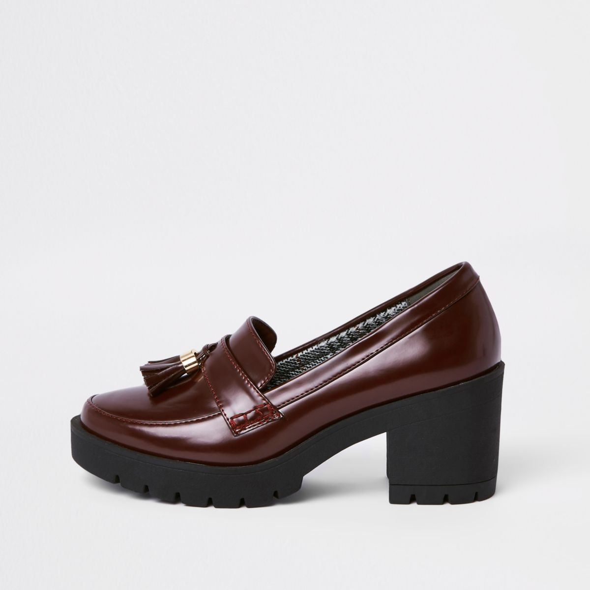 Dark red chunky tassel heeled loafers