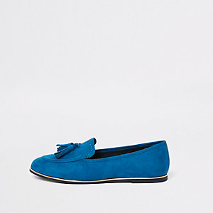 Blue gold tone trim tassel loafers