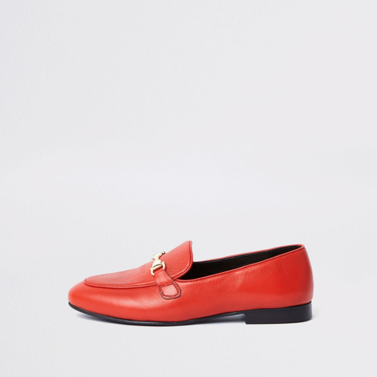 Red leather snaffle loafer