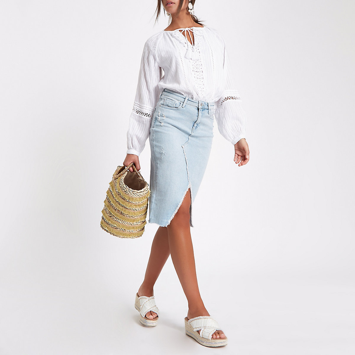 Light blue denim pencil skirt