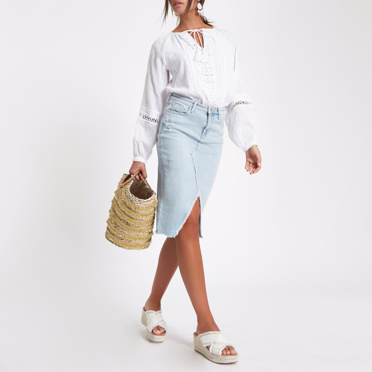Light blue denim pencil skirt