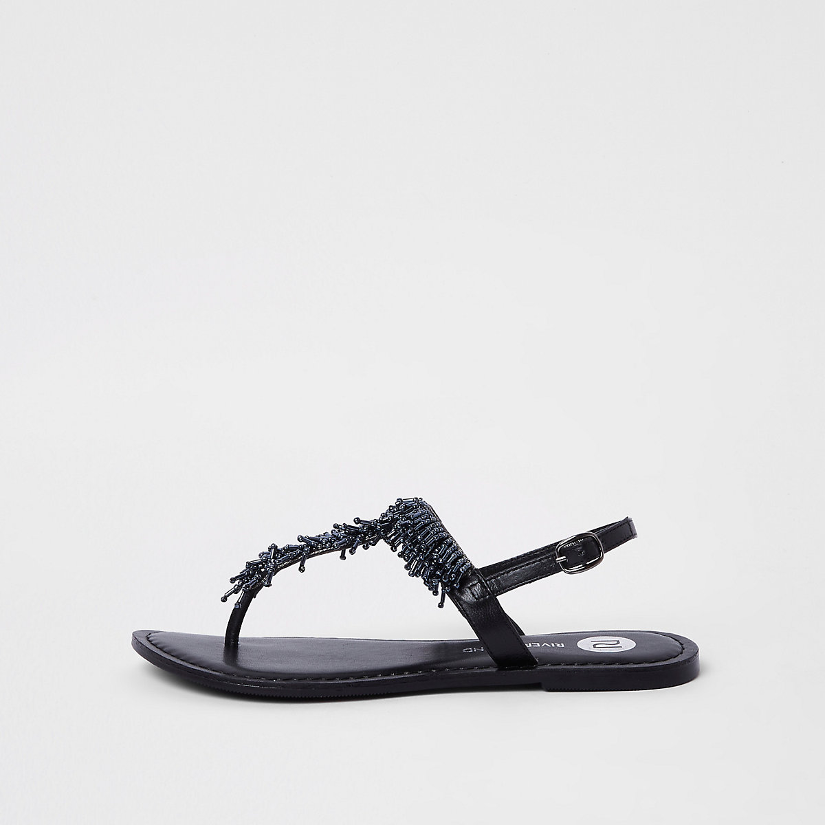 9085a8b41c6c67 Black bead embroidered sandals - Sandals - Shoes   Boots - women