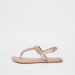 Sandalen mit Perlenstickerei in Hellrosa