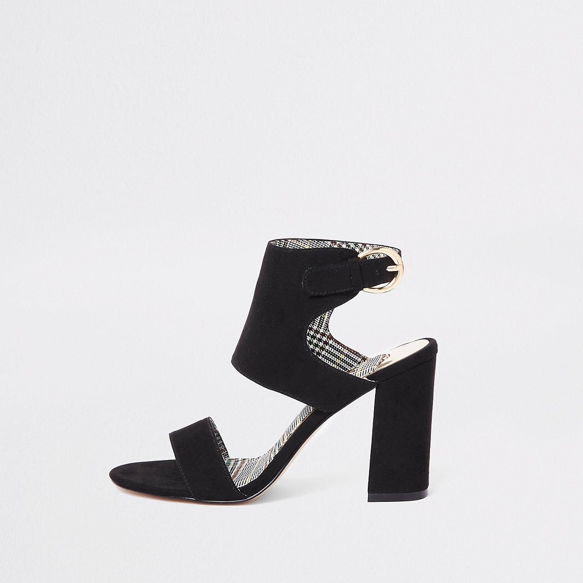 Zwarte sandalen van imitatiesuède met blokhak