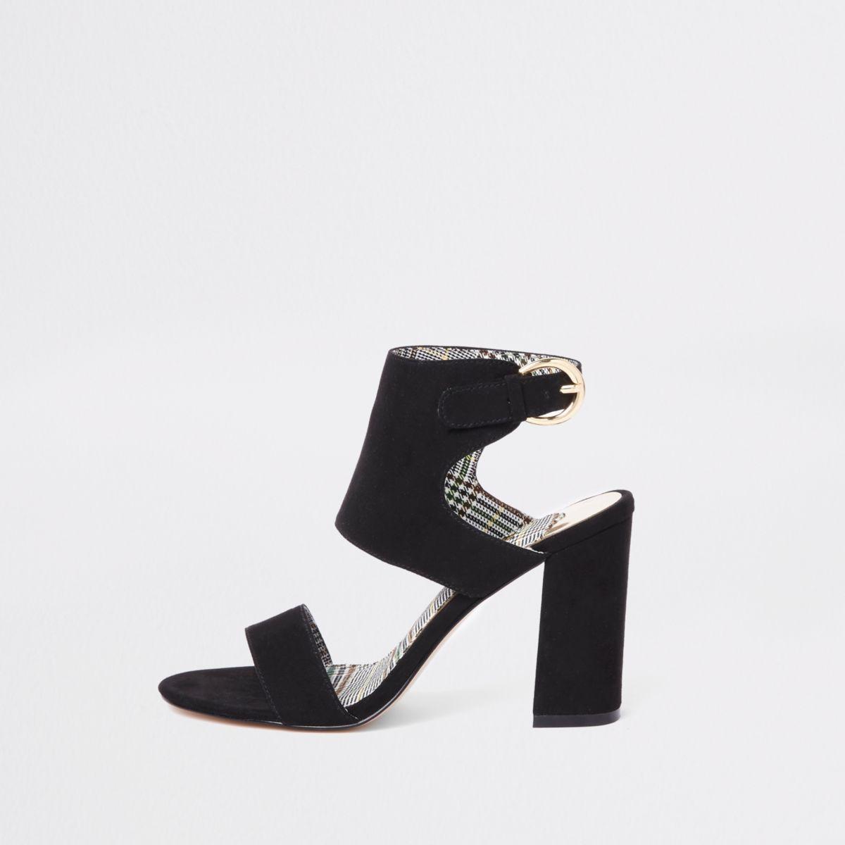 Black faux suede block heel sandals