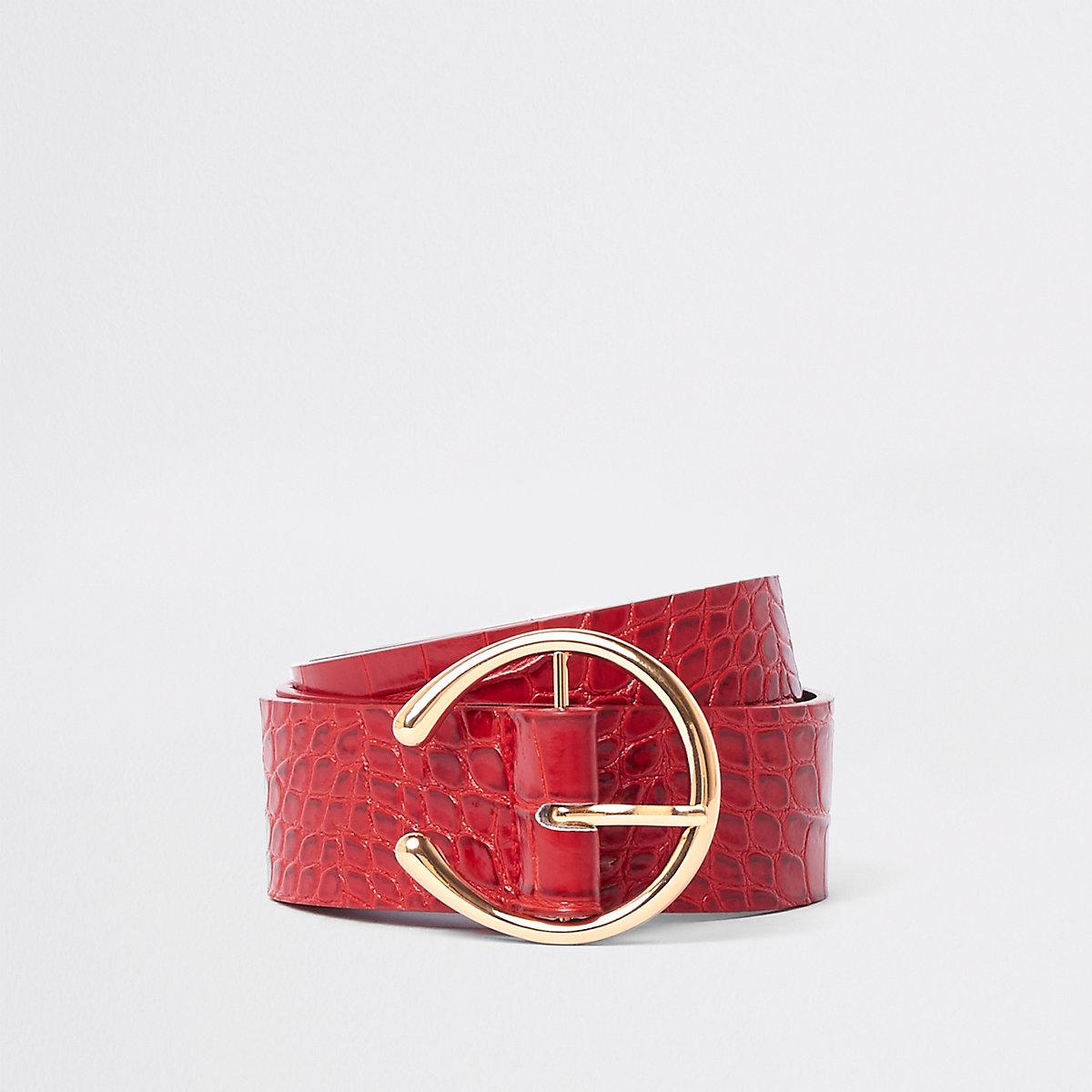Red croc stirrup buckle jeans belt