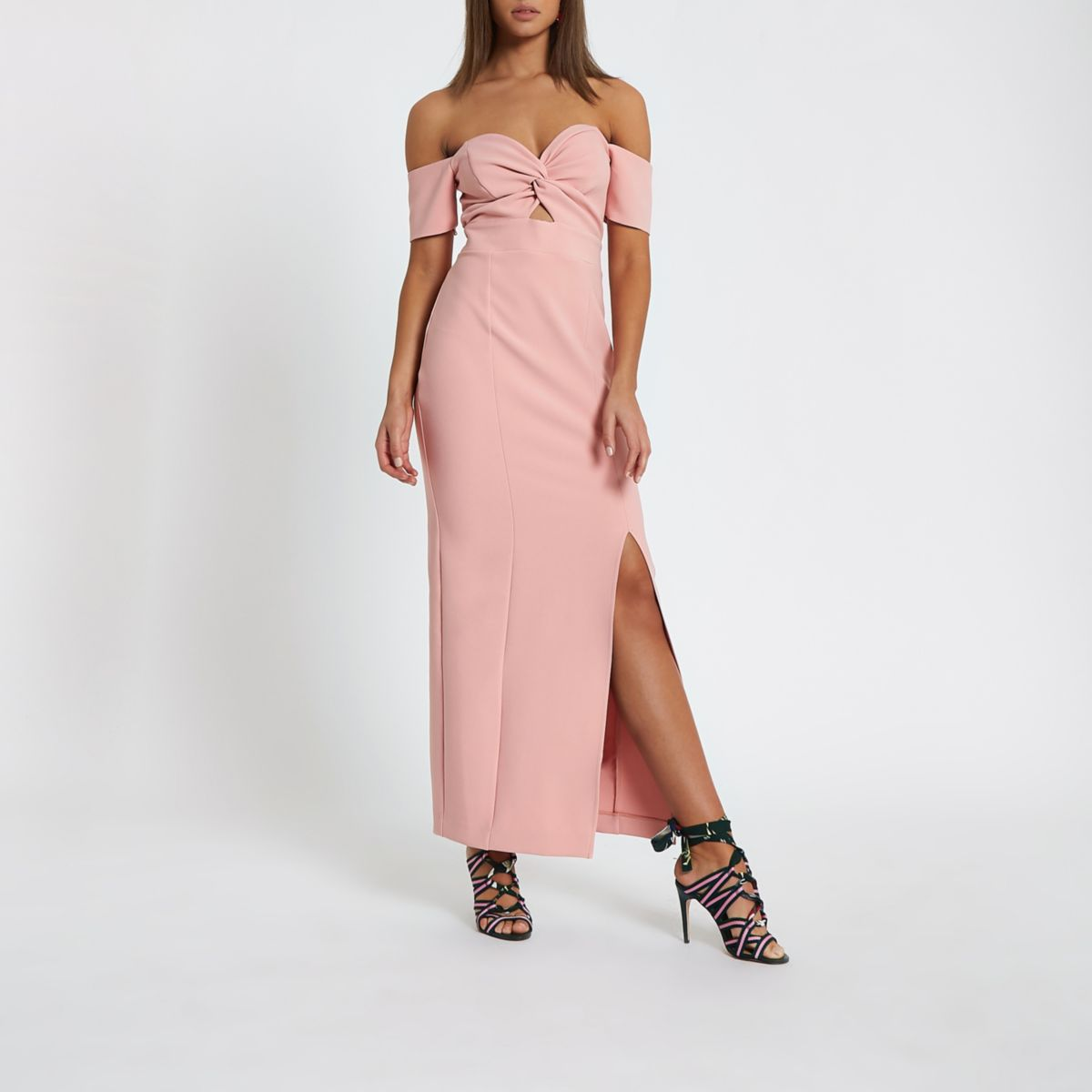 Pink knot front bardot maxi dress