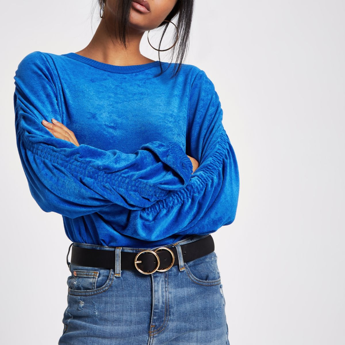 Blue ruched sleeve towelling top