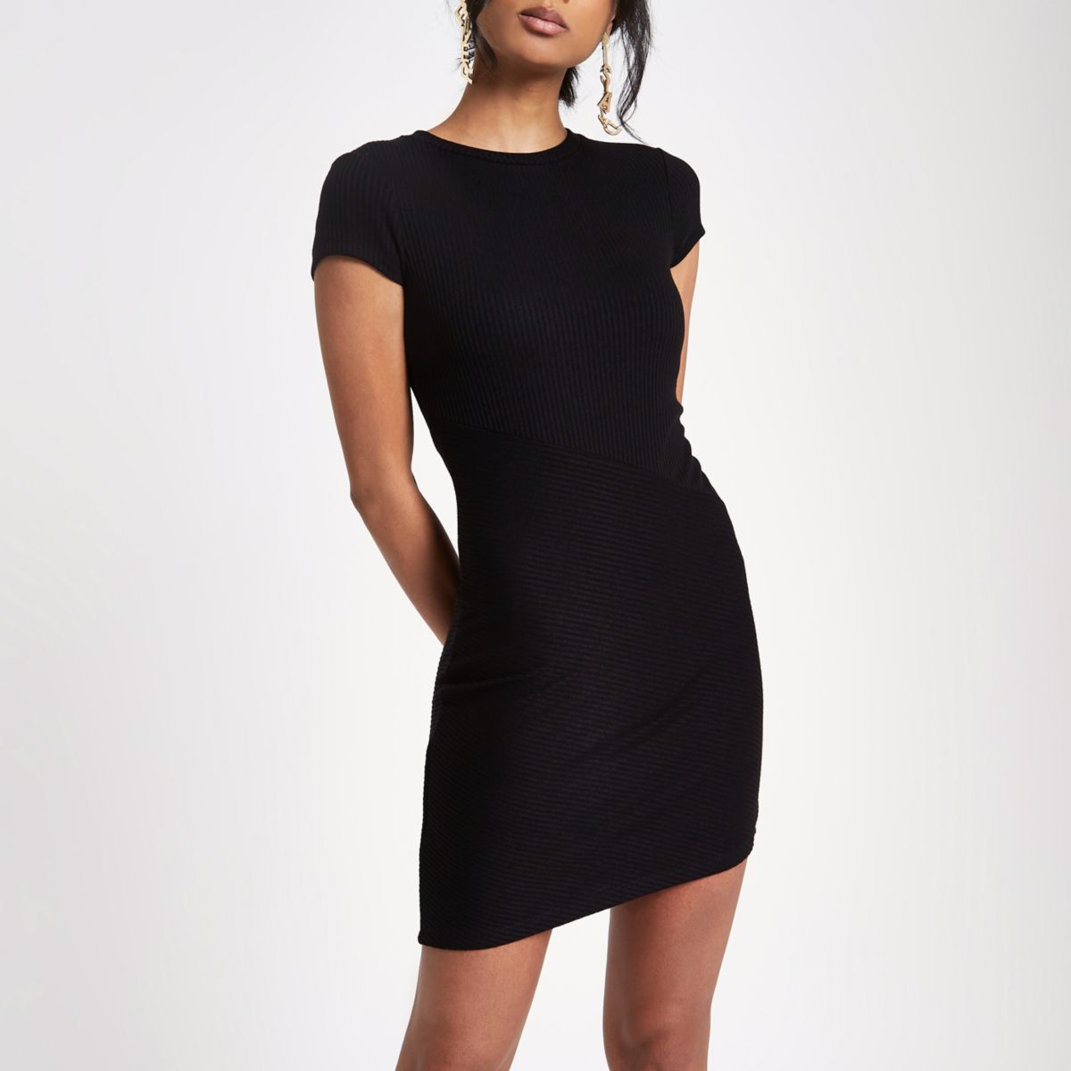 Black ribbed cap sleeve fitted dress