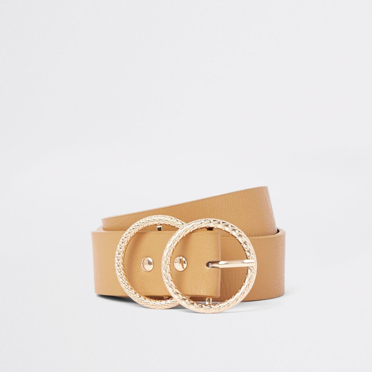 Brown gold tone double ring jeans belt