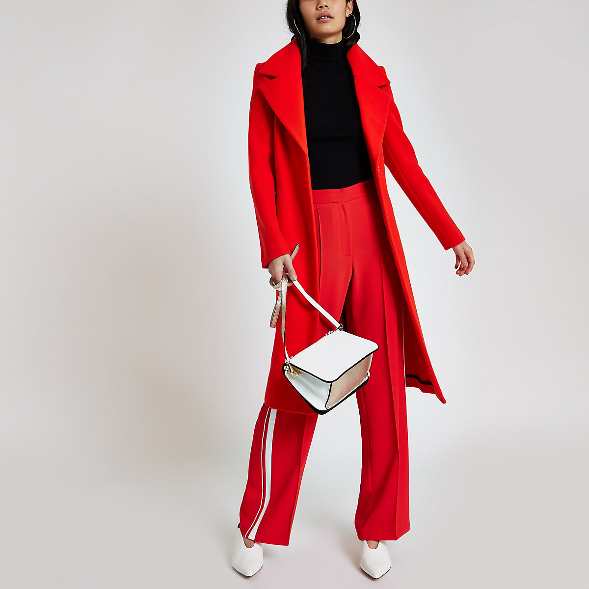 Red wool belted robe coat