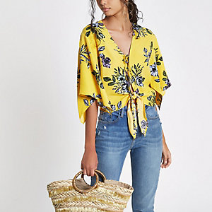 Yellow tie front floral cape top