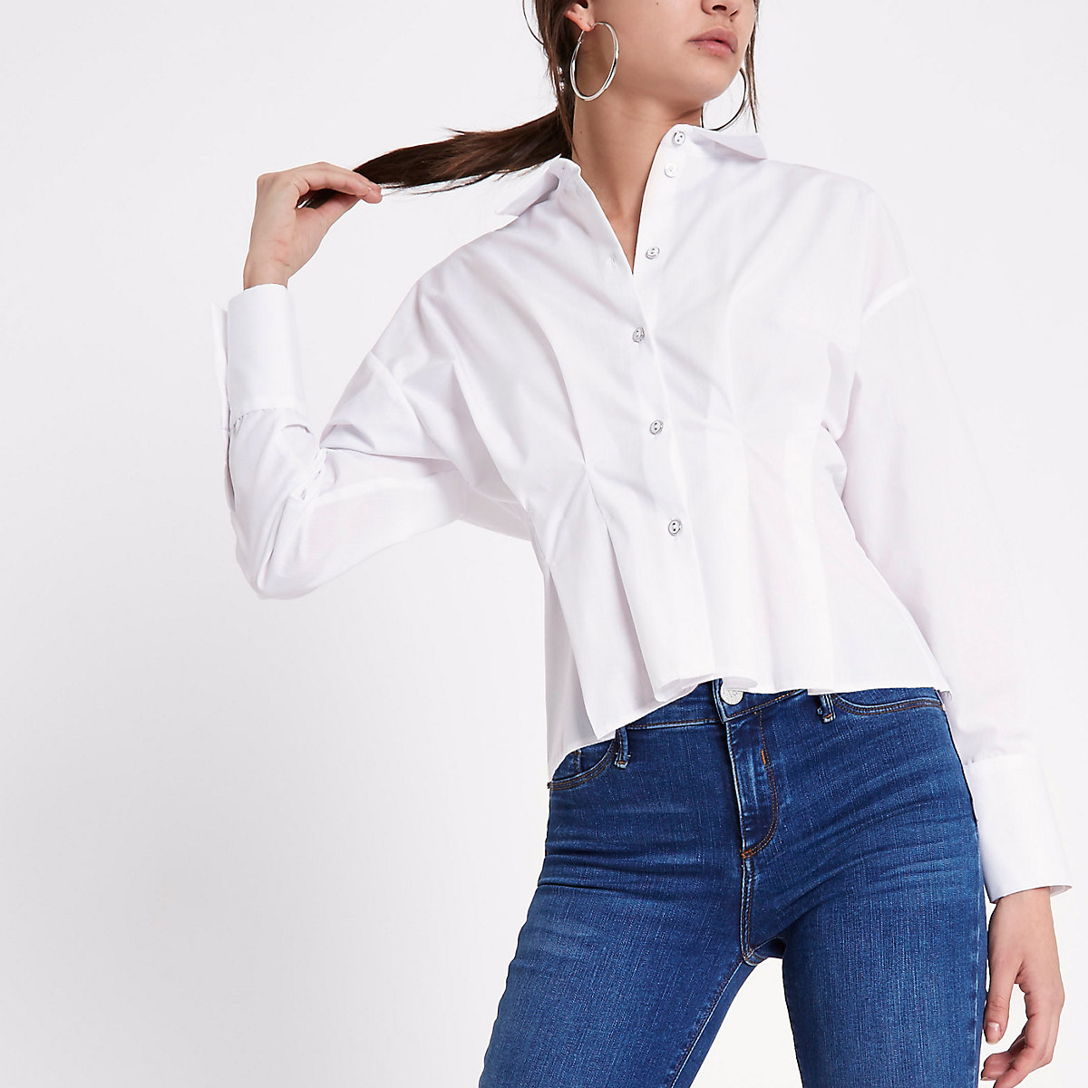 White poplin frill fitted shirt