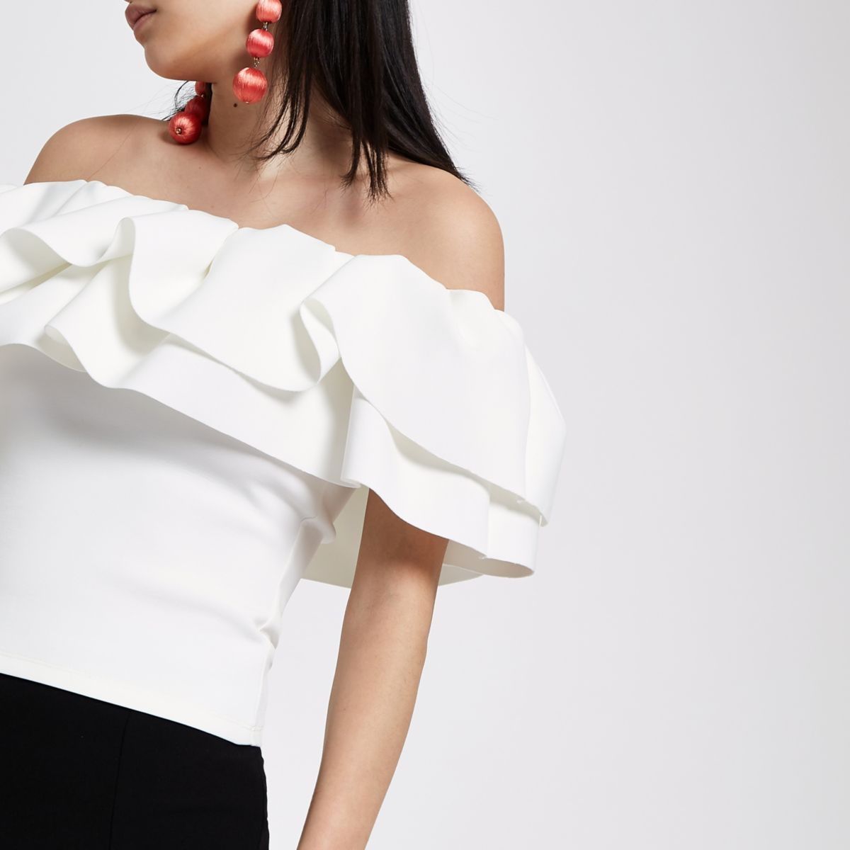 White frill bardot fitted crop top