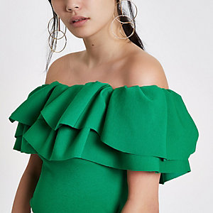 Green frill bardot fitted crop top