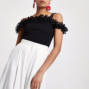 Black frill cold shoulder cami top