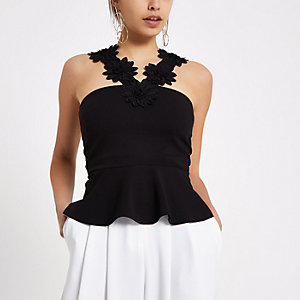Black  floral trim peplum hem cami top