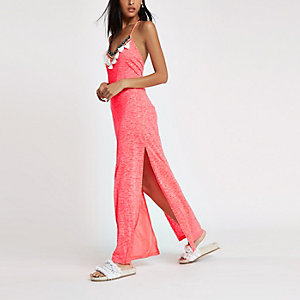 Pink jersey tassel maxi beach cover up