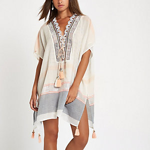 Cream oversized tassel beach cover up