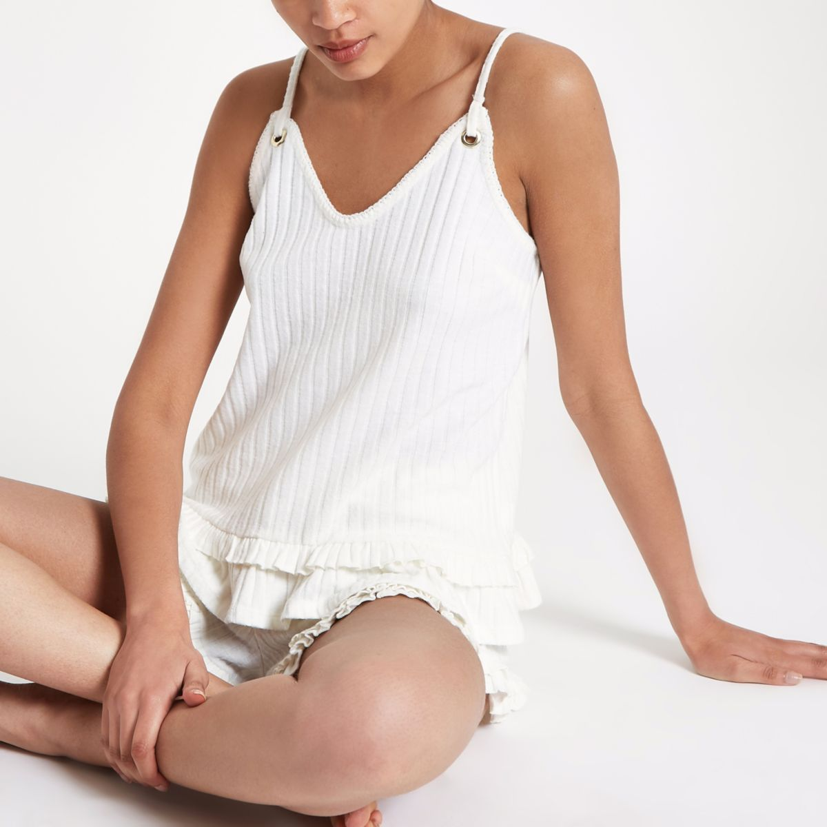 Cream frill hem ribbed cami pyjama top