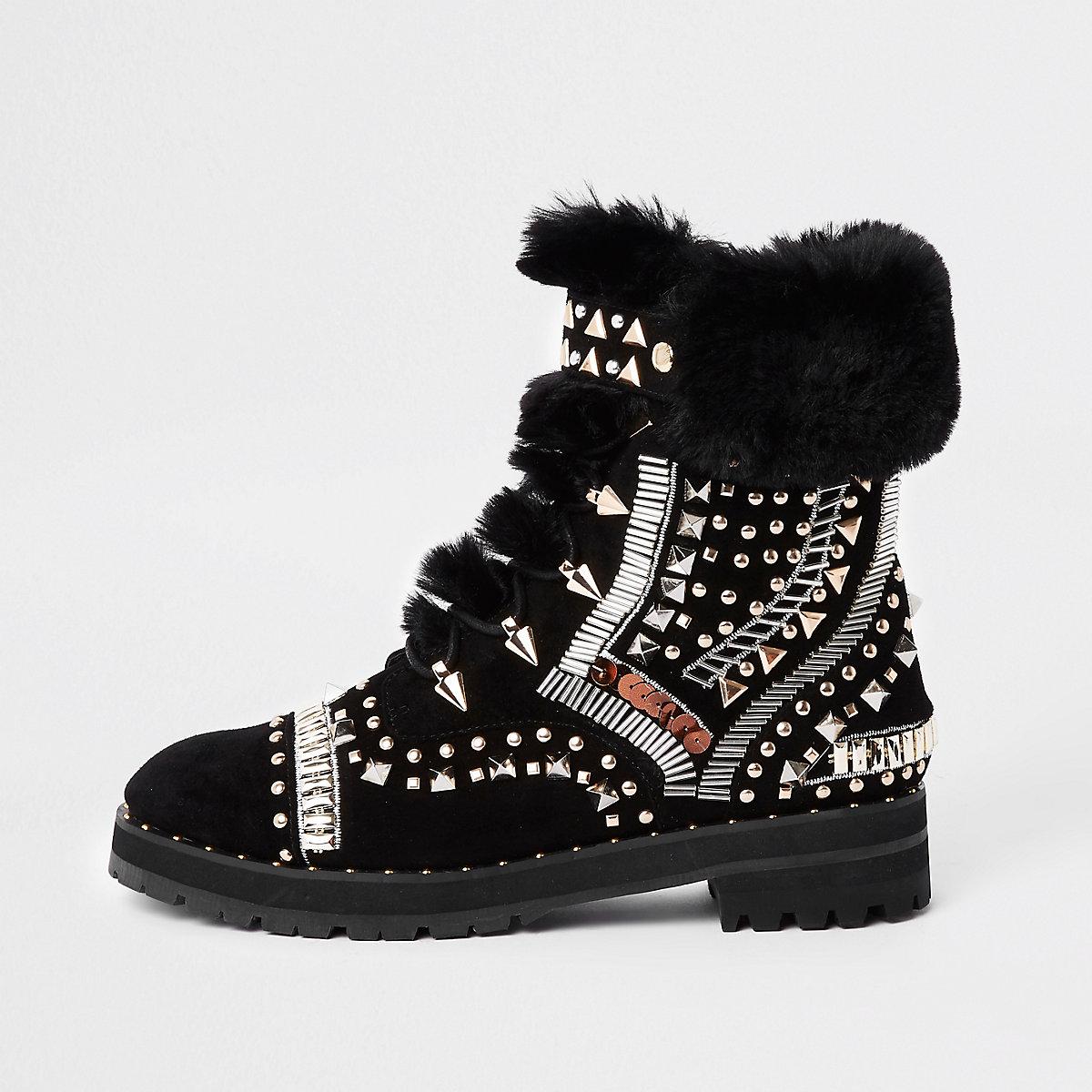 RI 30 black faux fur trim embellished boots