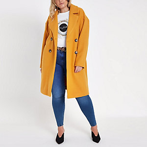 Yellow long double breasted coat