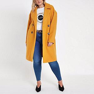 Manteau long croisé jaune