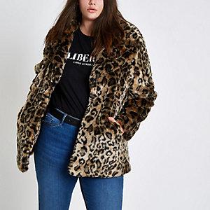Manteau grande taille à imprimé léopard en fausse fourrure
