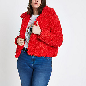 Plus red shearling faux fur cropped jacket