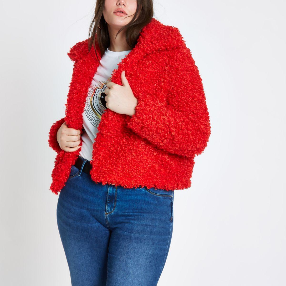 Plus red faux fur coat