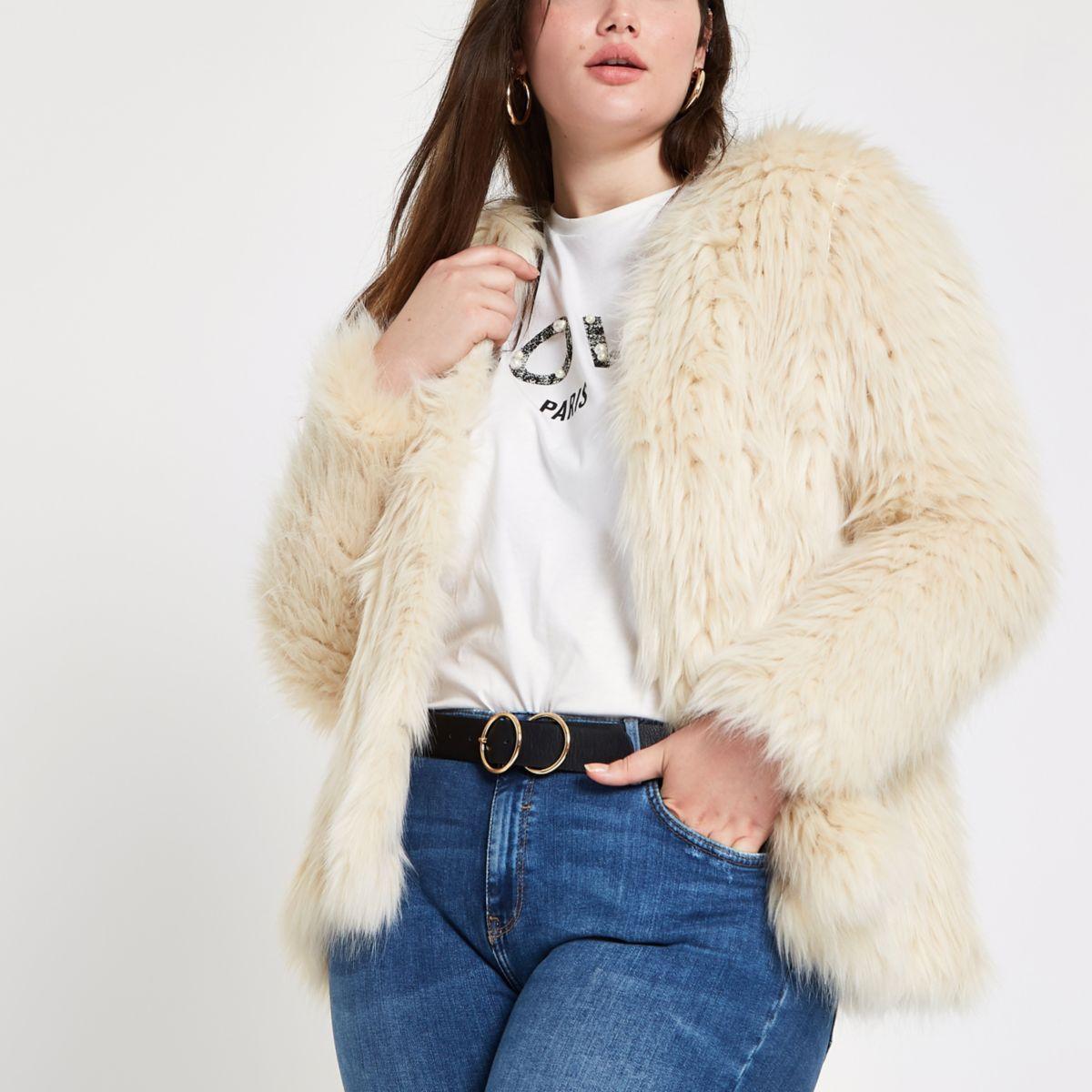 Plus cream knitted faux fur coat