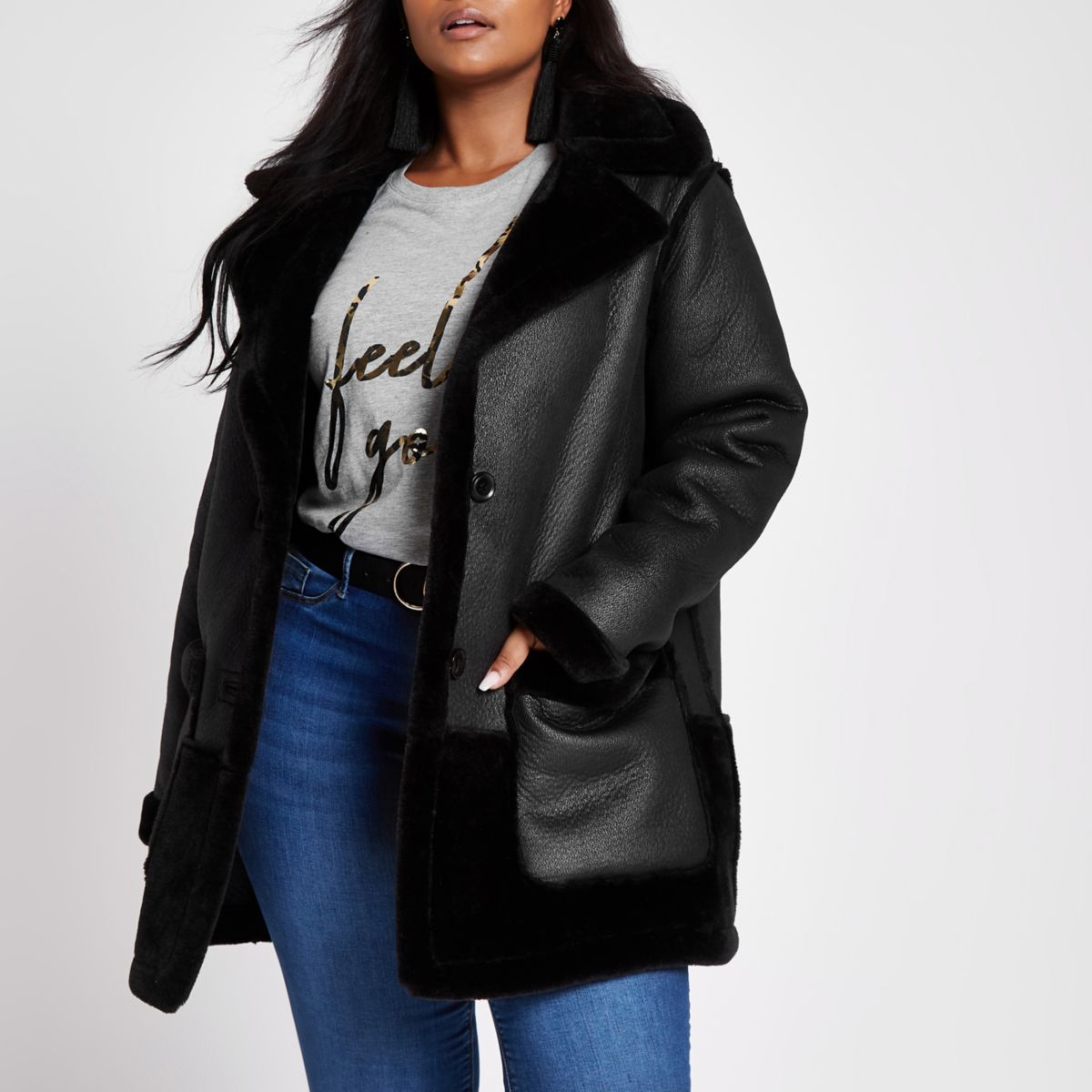 Plus black faux fur reversible coat