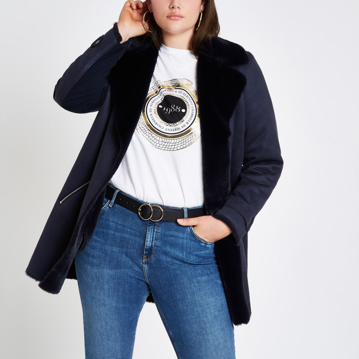 Plus navy faux fur lined fallaway jacket