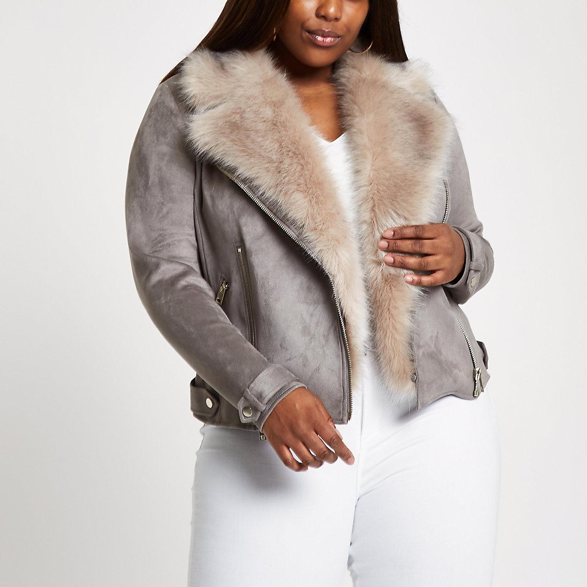 Plus grey faux fur collar biker jacket