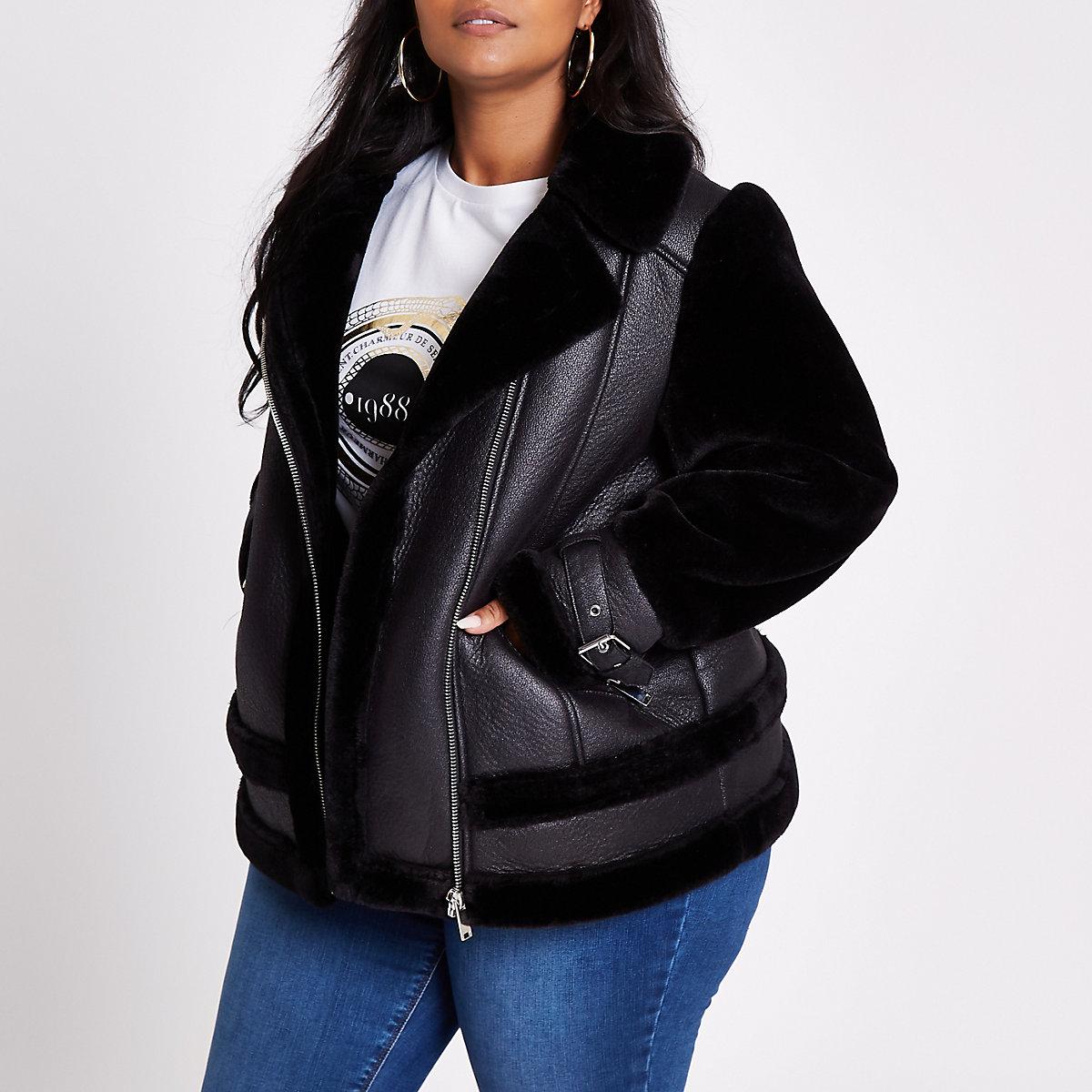 Plus black faux fur aviator jacket