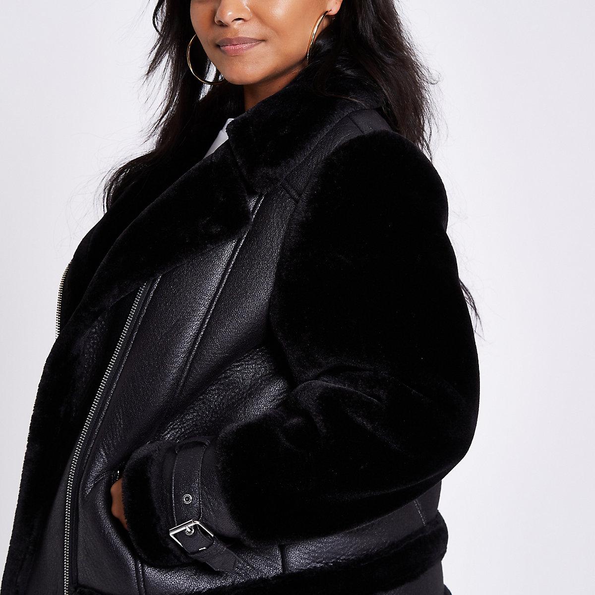 a92e5bef3de9f Plus black faux fur aviator jacket - Jackets - Coats   Jackets - women
