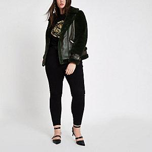 Plus green faux fur aviator jacket