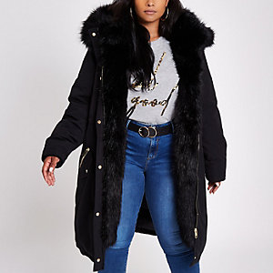 Plus black faux fur trim parka coat