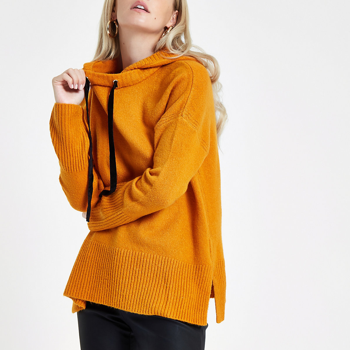 Petite orange knitted hooded jumper