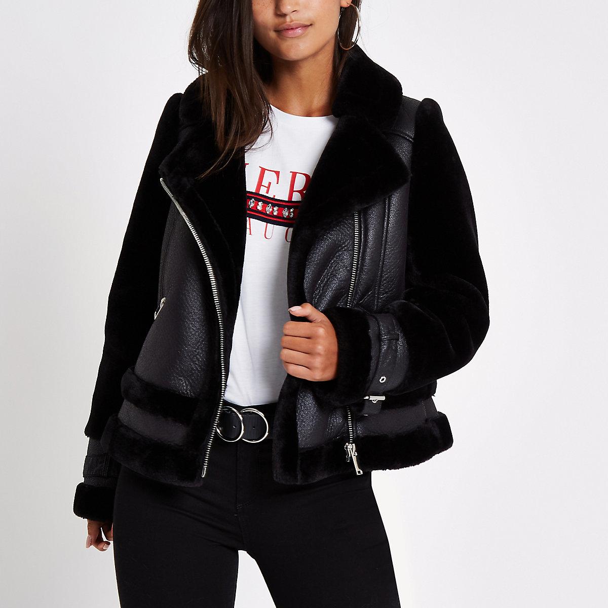 Petite black faux fur aviator jacket