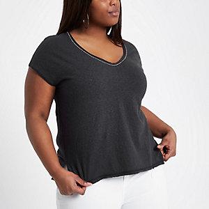 Plus – Graues T-Shirt mit verziertem Ausschnitt